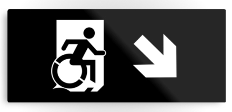 Accessible Exit Sign Project Wheelchair Wheelie Running Man Symbol Means of Egress Icon Disability Emergency Evacuation Fire Safety Metal Printed 120