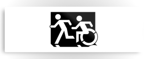 Accessible Exit Sign Project Wheelchair Wheelie Running Man Symbol Means of Egress Icon Disability Emergency Evacuation Fire Safety Metal Printed 123