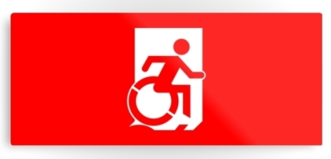 Accessible Exit Sign Project Wheelchair Wheelie Running Man Symbol Means of Egress Icon Disability Emergency Evacuation Fire Safety Metal Printed 124