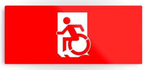 Accessible Exit Sign Project Wheelchair Wheelie Running Man Symbol Means of Egress Icon Disability Emergency Evacuation Fire Safety Metal Printed 125