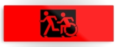 Accessible Exit Sign Project Wheelchair Wheelie Running Man Symbol Means of Egress Icon Disability Emergency Evacuation Fire Safety Metal Printed 126