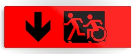 Accessible Exit Sign Project Wheelchair Wheelie Running Man Symbol Means of Egress Icon Disability Emergency Evacuation Fire Safety Metal Printed 127