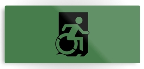 Accessible Exit Sign Project Wheelchair Wheelie Running Man Symbol Means of Egress Icon Disability Emergency Evacuation Fire Safety Metal Printed 1