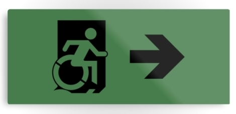 Accessible Exit Sign Project Wheelchair Wheelie Running Man Symbol Means of Egress Icon Disability Emergency Evacuation Fire Safety Metal Printed 13