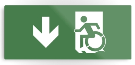 Accessible Exit Sign Project Wheelchair Wheelie Running Man Symbol Means of Egress Icon Disability Emergency Evacuation Fire Safety Metal Printed 14