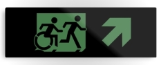 Accessible Exit Sign Project Wheelchair Wheelie Running Man Symbol Means of Egress Icon Disability Emergency Evacuation Fire Safety Metal Printed 15
