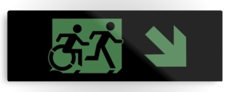 Accessible Exit Sign Project Wheelchair Wheelie Running Man Symbol Means of Egress Icon Disability Emergency Evacuation Fire Safety Metal Printed 16