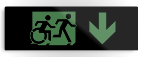 Accessible Exit Sign Project Wheelchair Wheelie Running Man Symbol Means of Egress Icon Disability Emergency Evacuation Fire Safety Metal Printed 17