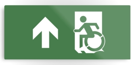 Accessible Exit Sign Project Wheelchair Wheelie Running Man Symbol Means of Egress Icon Disability Emergency Evacuation Fire Safety Metal Printed 18