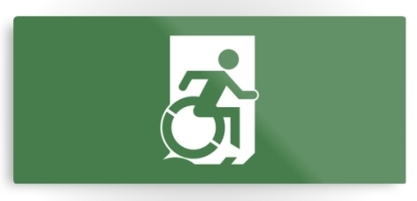 Accessible Exit Sign Project Wheelchair Wheelie Running Man Symbol Means of Egress Icon Disability Emergency Evacuation Fire Safety Metal Printed 19