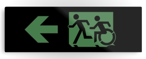 Accessible Exit Sign Project Wheelchair Wheelie Running Man Symbol Means of Egress Icon Disability Emergency Evacuation Fire Safety Metal Printed 20