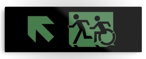 Accessible Exit Sign Project Wheelchair Wheelie Running Man Symbol Means of Egress Icon Disability Emergency Evacuation Fire Safety Metal Printed 21