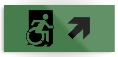 Accessible Exit Sign Project Wheelchair Wheelie Running Man Symbol Means of Egress Icon Disability Emergency Evacuation Fire Safety Metal Printed 2