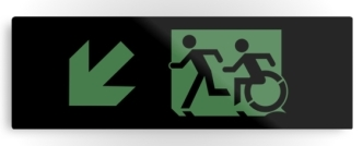 Accessible Exit Sign Project Wheelchair Wheelie Running Man Symbol Means of Egress Icon Disability Emergency Evacuation Fire Safety Metal Printed 22