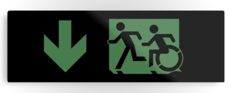 Accessible Exit Sign Project Wheelchair Wheelie Running Man Symbol Means of Egress Icon Disability Emergency Evacuation Fire Safety Metal Printed 23