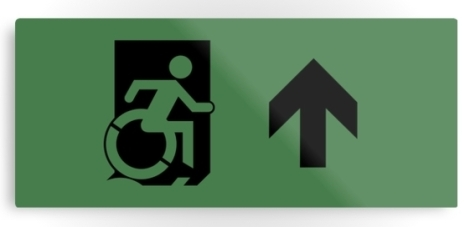 Accessible Exit Sign Project Wheelchair Wheelie Running Man Symbol Means of Egress Icon Disability Emergency Evacuation Fire Safety Metal Printed 24