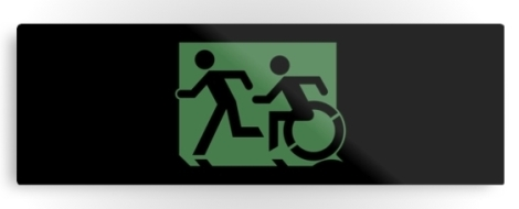 Accessible Exit Sign Project Wheelchair Wheelie Running Man Symbol Means of Egress Icon Disability Emergency Evacuation Fire Safety Metal Printed 25