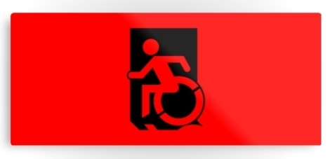 Accessible Exit Sign Project Wheelchair Wheelie Running Man Symbol Means of Egress Icon Disability Emergency Evacuation Fire Safety Metal Printed 26