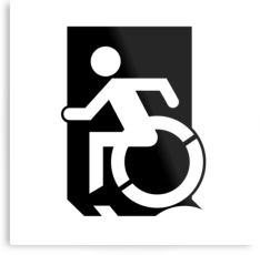 Accessible Exit Sign Project Wheelchair Wheelie Running Man Symbol Means of Egress Icon Disability Emergency Evacuation Fire Safety Metal Printed 27