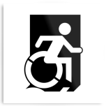 Accessible Exit Sign Project Wheelchair Wheelie Running Man Symbol Means of Egress Icon Disability Emergency Evacuation Fire Safety Metal Printed 28