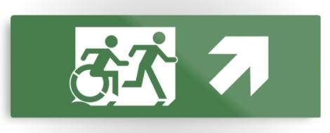 Accessible Exit Sign Project Wheelchair Wheelie Running Man Symbol Means of Egress Icon Disability Emergency Evacuation Fire Safety Metal Printed 29