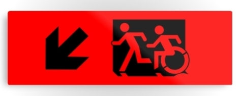 Accessible Exit Sign Project Wheelchair Wheelie Running Man Symbol Means of Egress Icon Disability Emergency Evacuation Fire Safety Metal Printed 3