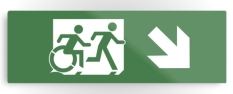 Accessible Exit Sign Project Wheelchair Wheelie Running Man Symbol Means of Egress Icon Disability Emergency Evacuation Fire Safety Metal Printed 30