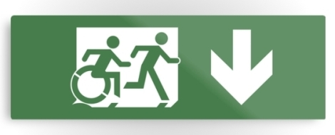 Accessible Exit Sign Project Wheelchair Wheelie Running Man Symbol Means of Egress Icon Disability Emergency Evacuation Fire Safety Metal Printed 31