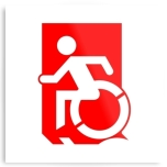 Accessible Exit Sign Project Wheelchair Wheelie Running Man Symbol Means of Egress Icon Disability Emergency Evacuation Fire Safety Metal Printed 32