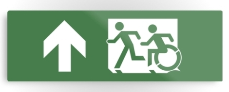Accessible Exit Sign Project Wheelchair Wheelie Running Man Symbol Means of Egress Icon Disability Emergency Evacuation Fire Safety Metal Printed 33