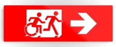 Accessible Exit Sign Project Wheelchair Wheelie Running Man Symbol Means of Egress Icon Disability Emergency Evacuation Fire Safety Metal Printed 34