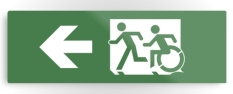 Accessible Exit Sign Project Wheelchair Wheelie Running Man Symbol Means of Egress Icon Disability Emergency Evacuation Fire Safety Metal Printed 35