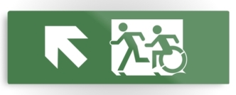 Accessible Exit Sign Project Wheelchair Wheelie Running Man Symbol Means of Egress Icon Disability Emergency Evacuation Fire Safety Metal Printed 36