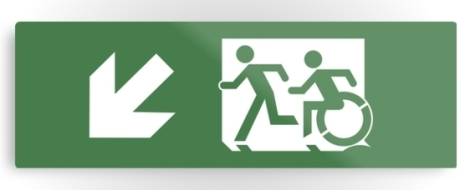 Accessible Exit Sign Project Wheelchair Wheelie Running Man Symbol Means of Egress Icon Disability Emergency Evacuation Fire Safety Metal Printed 37