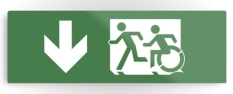 Accessible Exit Sign Project Wheelchair Wheelie Running Man Symbol Means of Egress Icon Disability Emergency Evacuation Fire Safety Metal Printed 38