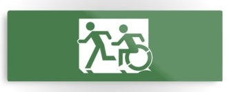 Accessible Exit Sign Project Wheelchair Wheelie Running Man Symbol Means of Egress Icon Disability Emergency Evacuation Fire Safety Metal Printed 39