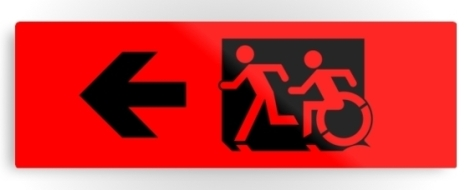 Accessible Exit Sign Project Wheelchair Wheelie Running Man Symbol Means of Egress Icon Disability Emergency Evacuation Fire Safety Metal Printed 4