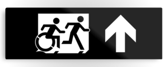 Accessible Exit Sign Project Wheelchair Wheelie Running Man Symbol Means of Egress Icon Disability Emergency Evacuation Fire Safety Metal Printed 40