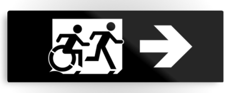 Accessible Exit Sign Project Wheelchair Wheelie Running Man Symbol Means of Egress Icon Disability Emergency Evacuation Fire Safety Metal Printed 41