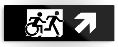 Accessible Exit Sign Project Wheelchair Wheelie Running Man Symbol Means of Egress Icon Disability Emergency Evacuation Fire Safety Metal Printed 42
