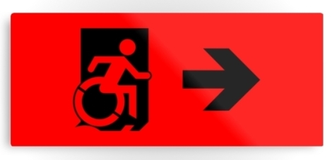 Accessible Exit Sign Project Wheelchair Wheelie Running Man Symbol Means of Egress Icon Disability Emergency Evacuation Fire Safety Metal Printed 43