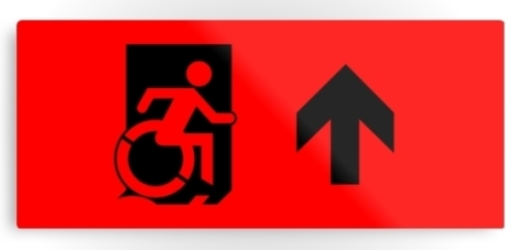 Accessible Exit Sign Project Wheelchair Wheelie Running Man Symbol Means of Egress Icon Disability Emergency Evacuation Fire Safety Metal Printed 44