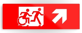Accessible Exit Sign Project Wheelchair Wheelie Running Man Symbol Means of Egress Icon Disability Emergency Evacuation Fire Safety Metal Printed 45