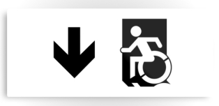 Accessible Exit Sign Project Wheelchair Wheelie Running Man Symbol Means of Egress Icon Disability Emergency Evacuation Fire Safety Metal Printed 46