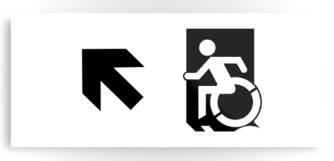 Accessible Exit Sign Project Wheelchair Wheelie Running Man Symbol Means of Egress Icon Disability Emergency Evacuation Fire Safety Metal Printed 48