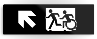 Accessible Exit Sign Project Wheelchair Wheelie Running Man Symbol Means of Egress Icon Disability Emergency Evacuation Fire Safety Metal Printed 49