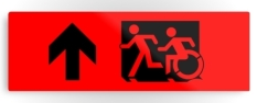 Accessible Exit Sign Project Wheelchair Wheelie Running Man Symbol Means of Egress Icon Disability Emergency Evacuation Fire Safety Metal Printed 5