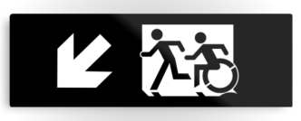 Accessible Exit Sign Project Wheelchair Wheelie Running Man Symbol Means of Egress Icon Disability Emergency Evacuation Fire Safety Metal Printed 50