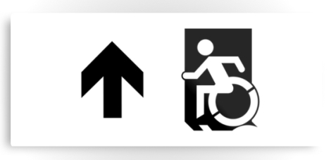 Accessible Exit Sign Project Wheelchair Wheelie Running Man Symbol Means of Egress Icon Disability Emergency Evacuation Fire Safety Metal Printed 51