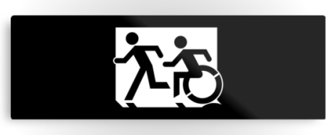 Accessible Exit Sign Project Wheelchair Wheelie Running Man Symbol Means of Egress Icon Disability Emergency Evacuation Fire Safety Metal Printed 52